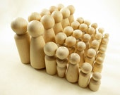 28 Wood Peg Dolls - Unfinished - Four Families of Seven - Unfinished Wooden Peg Dolls for DIY