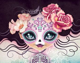 Sugar Skull Girl - Camila Huesitos 8 x 10 Digital Art Print