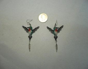 2 Brick Stitch Hummingbird Delica Seed Beading Dangle PDF E-File Earring Pattern-443