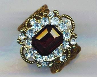 Purple Swarovski Rhinestone Adjustable Ring . Vintage Stone Setting . Christmas Holidays - Golden Filigree Ring  by enchantedbeads on Etsy