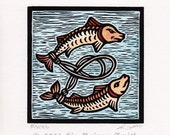 Unique hand colored Pisces Zodiac astrological woodcut print hand pulled print 6 x 6
