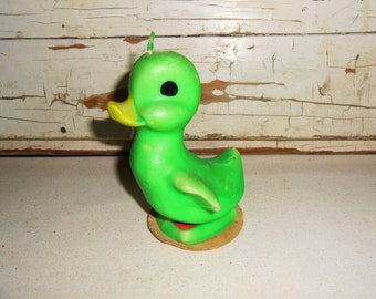 Vintage Gurley Duck Candle, Green Gurley Duck Candle