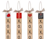 Choose Your XOXO Love Sign, Scrabble Letters, Natural Burlap, Christmas Ornament, Home Decor, (Scrabble XOXO Valentine's Love Sign)