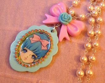 Sweet Lolita Blue Haired Girl Pink Bow Rose Beaded Pearl Necklace