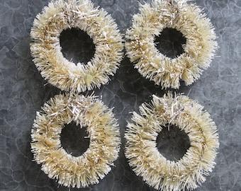 4 Off White Bottle Brush Wreaths - 4 Vintage Silver Tinsel Trim Christmas Mini Wreaths - Cream 1.5 Inch Putz House Village Wreath