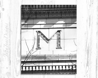 The Letter M Photo, Classic Black and White Architectural Image, Simple Home Decor, Minimalist Photograph
