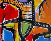 24x30 inch original painting by folk outsider Jeff Hughart art funky lowbrow  - CANE IN HAND
