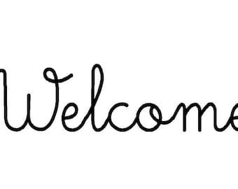Welcome vinyl lettering decal for front door 12 x 3