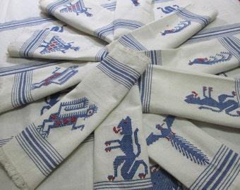 "Vintage Tablecloth 8 Napkins Blue White Woven Vintage Linens 1960's 1970's Native Guatemalan Mayan Symbols Farmhouse Table Linens 60""x98"""