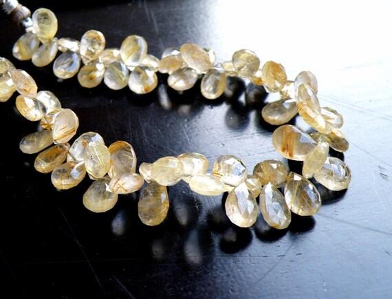 Rutilated Quartz Gemstone Briolette Golden Faceted Pear Teardrop 6.5mm 14 beads