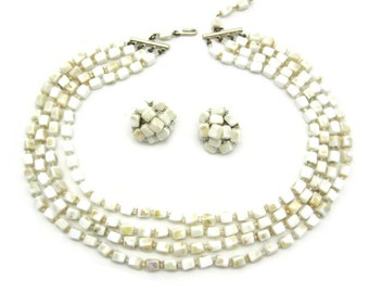 Vintage Necklace and Earring Set - Milk Glass Jewelry Set - Clip Earrings