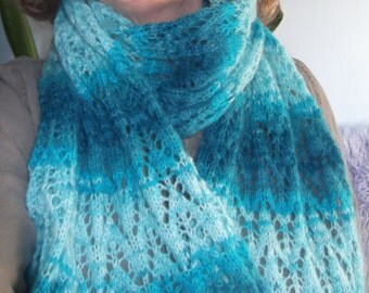 Handknit Turquoise Lace Scarf