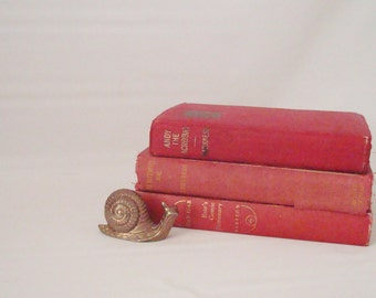 Vintage Red Book Trio Home Decor Wedding Holiday