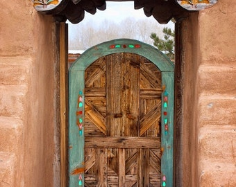Old Wood Gate - Adobe Walls - Fine Art Metallic Photo -Decorated Gate - Winter - Southwest - Turquoise Gate - Home Decor - Rustic -Wall Art