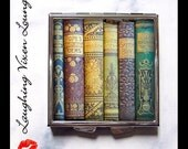 Book Pill Box - Vintage Books Compact Style-D - Book Mirror - Library Compact - Literary Pill Box - Book Box