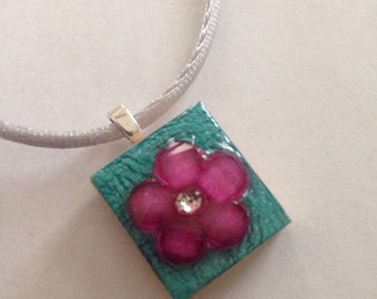 Teal and Purple Floral Scrabble Tile Pendant Party Favor