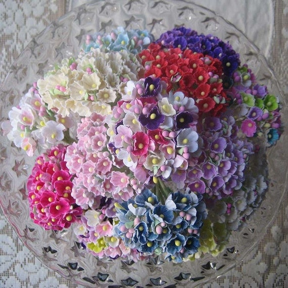 12 Bouquets Old Fashioned Forget Me Nots Flocked Paper Millinery Flowers Pick Your Own Colors