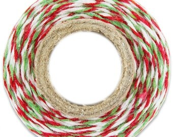 Classic Red and Green Bakers Twine - 100 yards of red and green stripe twine