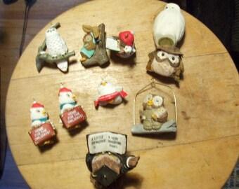 Owl Ornaments Figurines Lot of 10 Owls