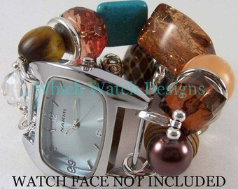 SALE Patina.. Super Chunky Turquoise, Brown, Black, Copper, Silver Plated Interchangeable Beaded Watch Band