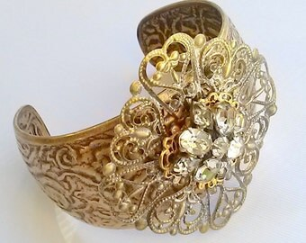 Filigree Brass Bracelet with Vintage Rhinestone