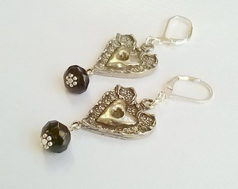 Silver Heart Earrings with Black Onyx