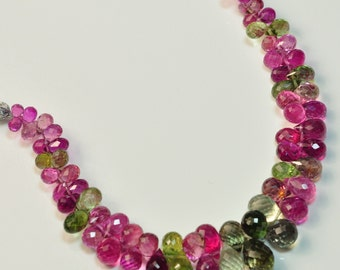 "Old Mine Brazil Tourmaline Faceted Full Teardrop Beads 5"" Mini Strand"