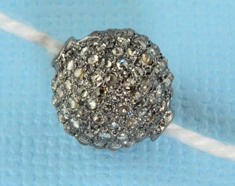 10MM Rhodium Silver Rose Cut Diamond Spacer Ball Finding