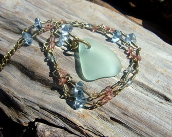 Authentic Cape Cod Sea Glass Necklace with Glass and Brass