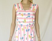 Vintage 40s Pink and White Cotton Summer Dress