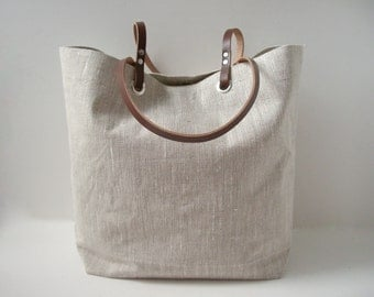 Simple Tote Bag, Natural, Neutral Linen Bag, Beach Bag,Casual Tote, Everyday Tote, Simple, Casual Handbag, Bag
