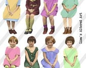 Digital Collage Sheet Group of Girls with Crowns, 3 sheets, plus PNG Kit (Sheet no. FS229) Instant Download