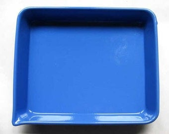 Vintage 1950 Cobalt Blue Enamel Ware Pan w Side Pouring Spout, Industrial, Kitchen Use, New Condition