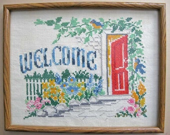 Vintage 1940's Framed Needlework on Linen, Welcome with Red Doorway, Garden, Flowers, Bluebirds, Wall Decor, Cottage Decor, Needlepoint