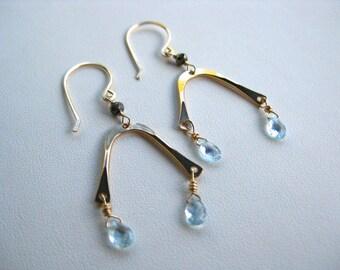 Gold Earrings, Gold Wishbone Earrings, Gold Dangle Earrings with Light Blue Topaz Briolettes, Chandelier Earrings
