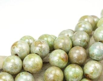 25 Ultra Luster Opaque Green 8mm Round Beads - Earthy Moss Green Sage Green Light Blue Green Beads - Czech Glass Beads 8mm Druks