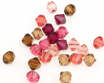 Marsala Mix - 24 Swarovski 6mm Bicone Beads - Swarovski Beads Article 5301 5328 6mm Beads In An Earthy Set Of Wines, Pinks, and Browns