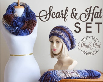 Chunky Knit Scarf and Slouchy Beanie Set, Hand Knit Blue and Brown Infinity or Fringe Scarf & Slouchy Hat Set, Women's Winter Accessories