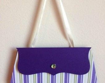 Purse gift card - Purple and Green Stripe