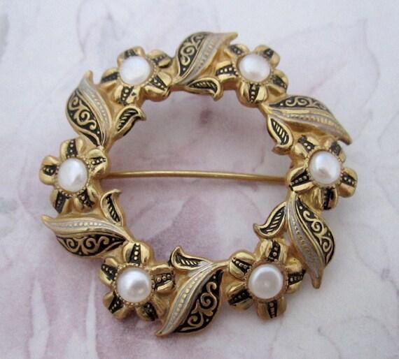Vintage signed spain hallmark spanish damascene enamel wreath - Hallmark espana ...