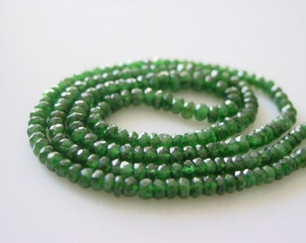 7 inches strand of Sparkly Green TSAVORITE garnet Faceted Rondelles - 3 to 4 mm
