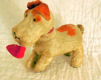 Vintage Wind Up Toy Dog Red and White Fur with Key Walks Moving Head Toy Shoe Steampunk Upcycle