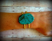 TURQUOISE SOLO - Turquoise Stone Cuff on raw brass adjustable double banded cuff  Boho Urban Hippie