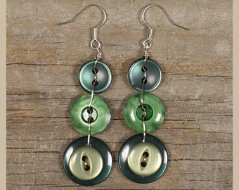 Long Green Button Drop Earrings