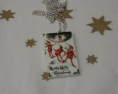 Christmas Elves Necklace, Vintage Christmas Illustration Necklace