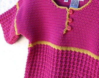 Toddler Girl Sweater - Bright Pink and Yellow Toddler Girl Pullover Sweater - Size 3T-4T(PULLOVER110)