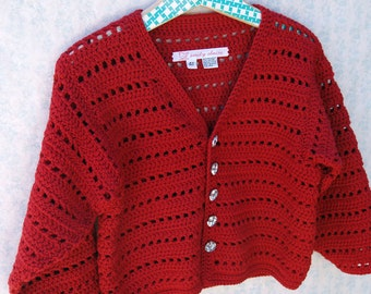 Toddler Girl Sweater - Classic Christmas Red Crochet Cardigan With Rhinestone Buttons- Size 4T - 5T (CARD110)