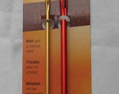 "NEW ""Pony"" The knook-kit crochet hooks 6mm+4mm hole for cord aluminium gold red"