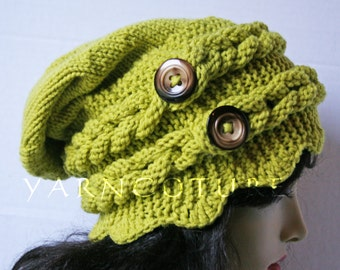 Rapunzel's Crown Winter Hat w/Slouch And Satin Lining Option -  Braided Knit Hat - Fiber Art Design  - Hand Knit Hat / YOU Choose The Colors