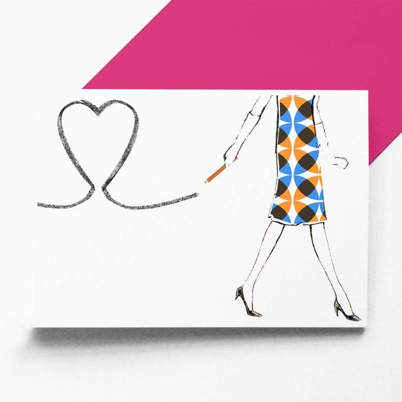 Pencil Heart greetings card/Valentine